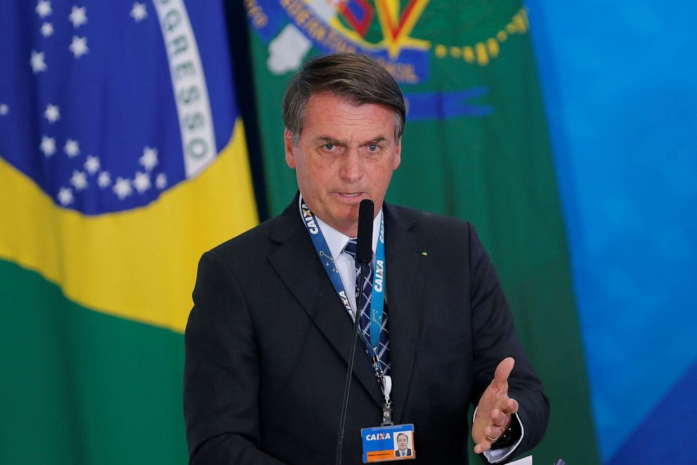 PHOTO: Brazilian President Jair Bolsonaro speaks during the launching ceremony of the real estate credit program at the Planalto Palace in Brasilia, Brazil, Aug. 20, 2019.