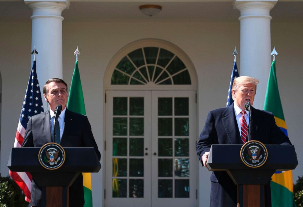 PHOTO: President Donald Trump takes part in a joint press conference with Brazils President Jair Bolsonaro in the Rose Garden at the White House on March 19, 2019, in Washington, D.C.