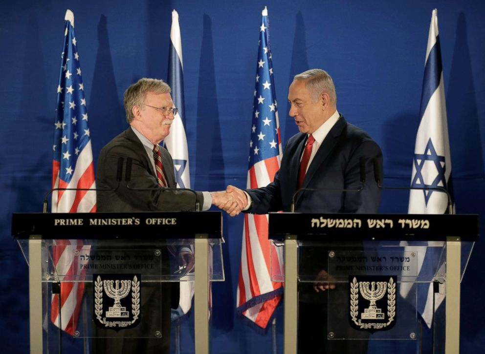 PHOTO: National Security Adviser John Bolton shake hands with Israeli Prime Minister Benjamin Netanyahu in Jerusalem, Jan. 6, 2019.