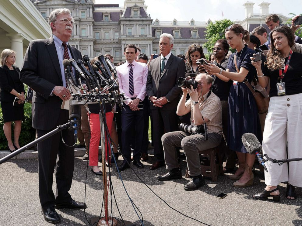 PHOTO: White House National Security Advisor John Bolton talks to reporters outside of the White House, April 30, 2019, about the security and political turmoil in Venezuela.