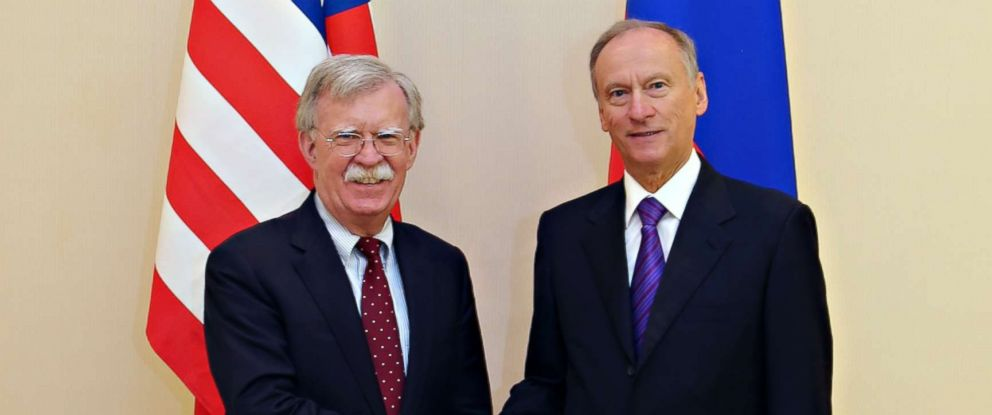 PHOTO: A handout photo made available by the Russian Security Council press service shows US National Security Adviser John Bolton, left, shaking hands with Russian Security Council Secretary Nikolai Patrushev before their talks in Moscow, Oct. 22, 2018.