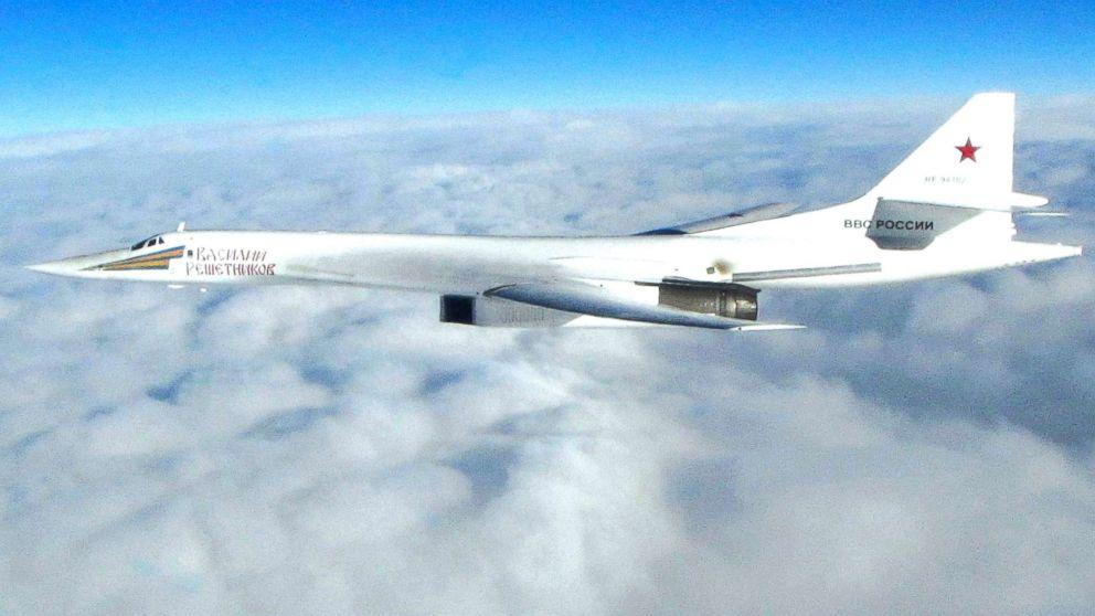 In this image made available by the Royal Air Force on  Jan. 15, 2018, one of Russian Blackjack Tupolev Tu-160 long-range bombers is photographed by an RAF aircraft, scrambled from RAF Lossiemouth, Scotland.