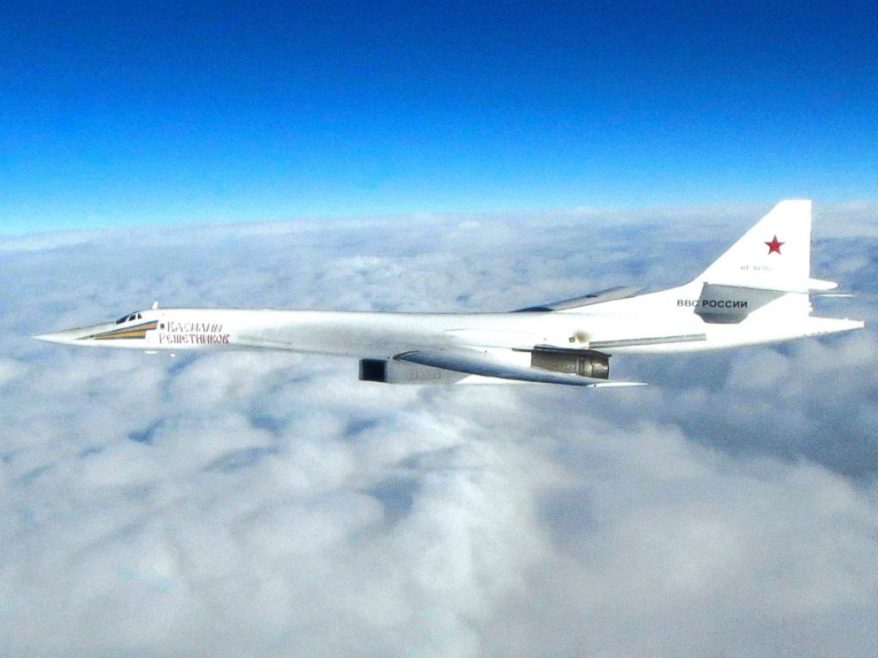 PHOTO: In this image made available by the Royal Air Force on Jan. 15, 2018, one of Russian Blackjack Tupolev Tu-160 long-range bombers is photographed by an RAF aircraft, scrambled from RAF Lossiemouth, Scotland.