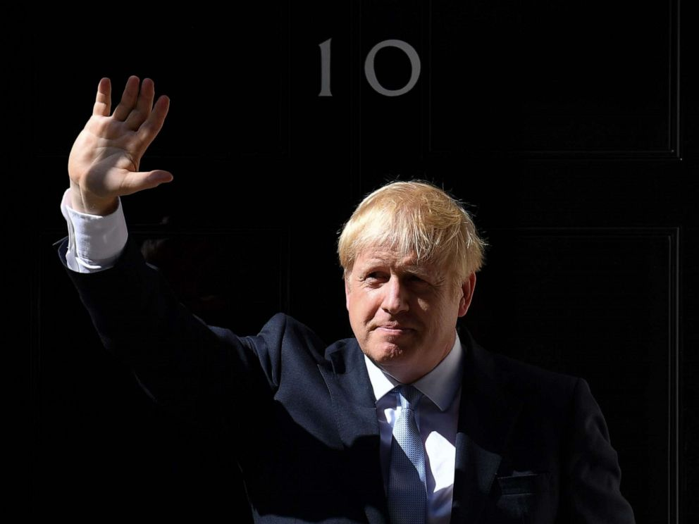 PHOTO: Britains new Prime Minister Boris Johnson gestures after giving a speech outside 10 Downing Street in London on July 24, 2019 on the day he was formally appointed British prime minister.