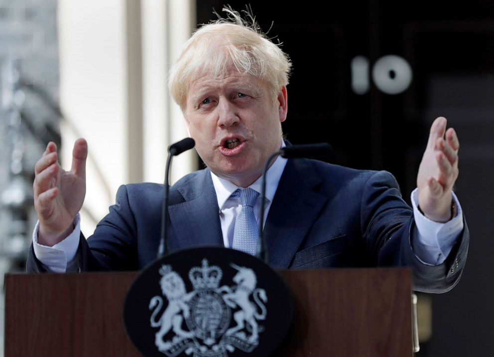 PHOTO: Britains Prime Minister Boris Johnson speaks outside 10 Downing Street in London, July 24, 2019.
