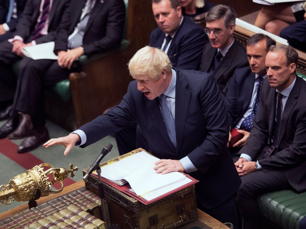 PHOTO: In this handout photo provided by the House of Commons, Britains Prime Minister Boris Johnson gestures during his first Prime Ministers Questions, in the House of Commons in London, Wednesday, Sept. 4, 2019.