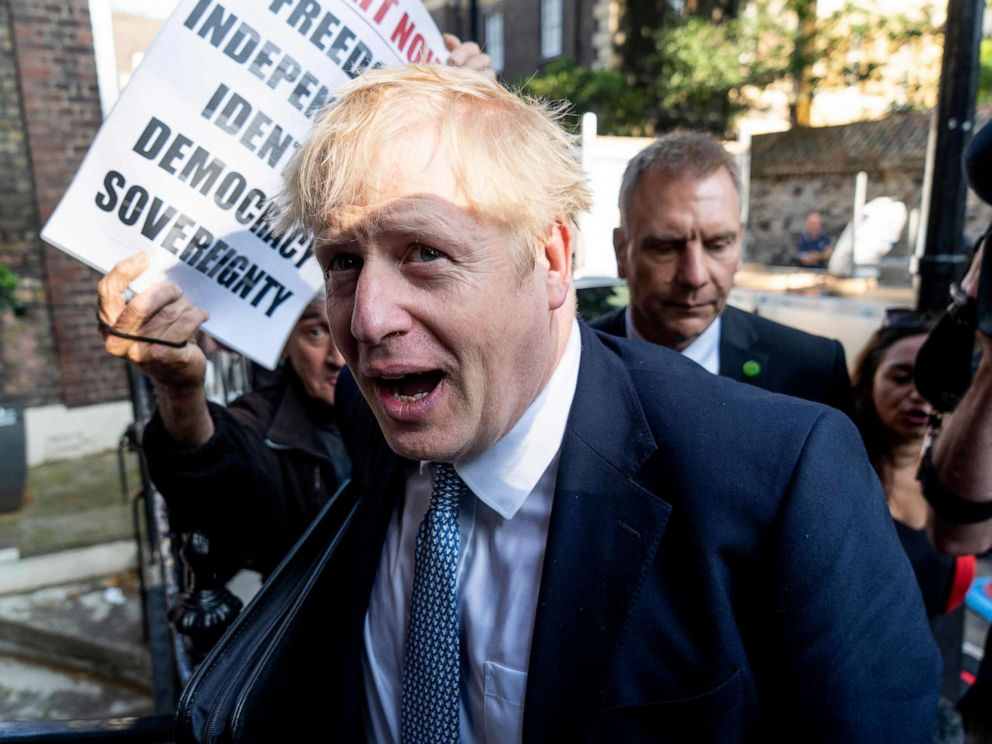 PHOTO: Conservative MP and leadership contender Boris Johnson arrives at his campaign headquarters in central London on July 23, 2019.
