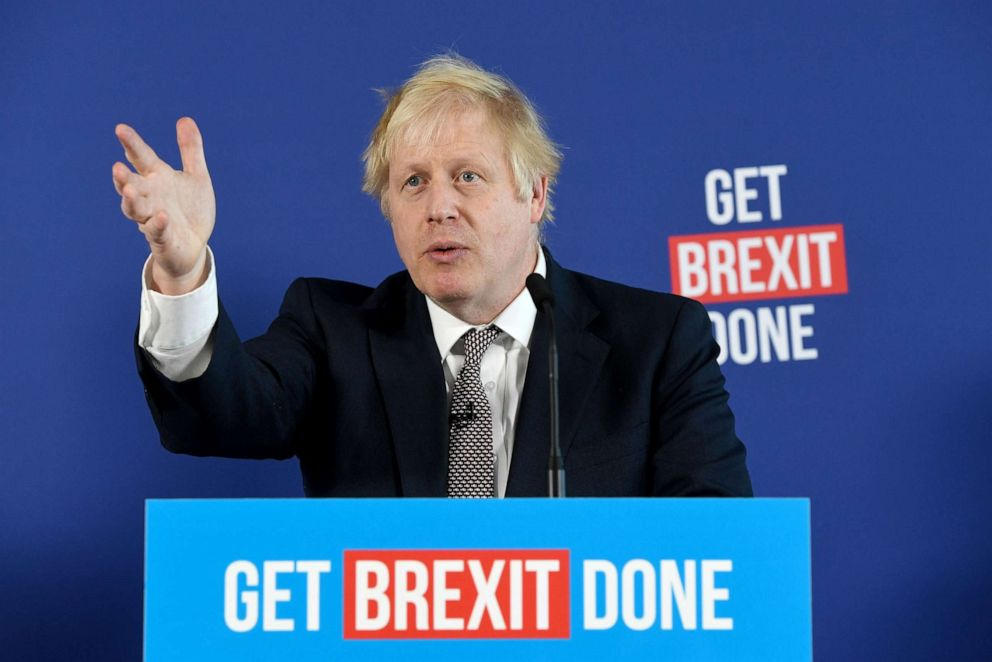 PHOTO: Britains Prime Minister and Conservative leader Boris Johnson takes part in a press conference about Brexit and the general election in London, Nov. 29, 2019.