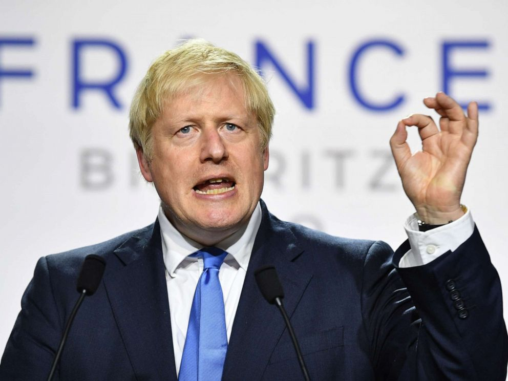 PHOTO: UK Prime Minister Boris Johnson during a press conference in the Bellevue hotel conference room at the conclusion of the G-7 summit on Aug. 24, 2019, in Biarritz, France.