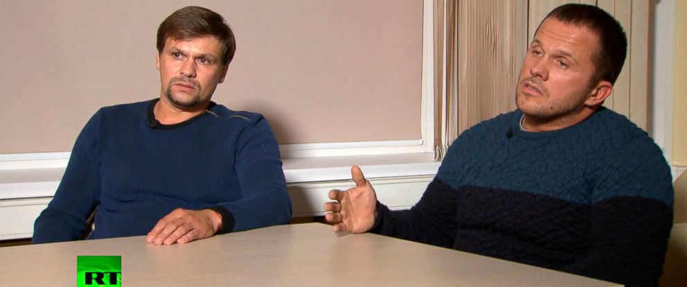 PHOTO: In this video grab provided by the RT channel, Sept. 13, 2018, Ruslan Boshirov, left, and Alexander Petrov attend their first public appearance in an interview with the RT channel in Moscow, Russia.
