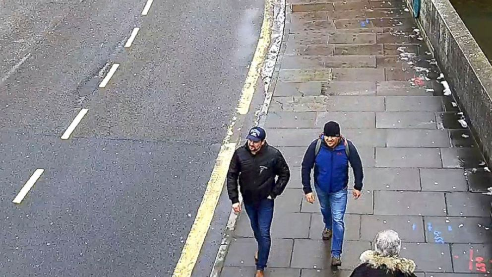 In this file grab taken from CCTV and issued by the Metropolitan Police in London on Sept. 5, 2018, Ruslan Boshirov and Alexander Petrov walk on Fisherton Road, Salisbury, England, March 4, 2018.