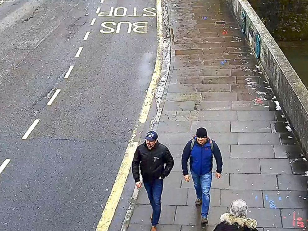 PHOTO: In this file grab taken from CCTV and issued by the Metropolitan Police in London on Sept. 5, 2018, Ruslan Boshirov and Alexander Petrov walk on Fisherton Road, Salisbury, England, March 4, 2018.