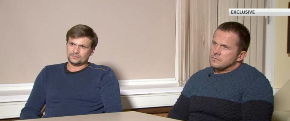 PHOTO: Two Russian men the UK has accused of poisoning a former Russian spy in England, Ruslan Boshirov and Alexander Petrov, appeared in an interview with Kremlin-backed RT on Sep. 13, 2018. Boshirov and Petrov denied the allegations.