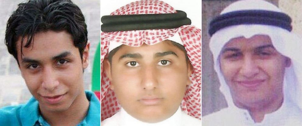 PHOTO: Ali al-Nimr, Abdullah al-Zaher and Dawood al-Marhoon, are pictured in undated handout photos. They have all been sentenced to death in Saudi Arabia.