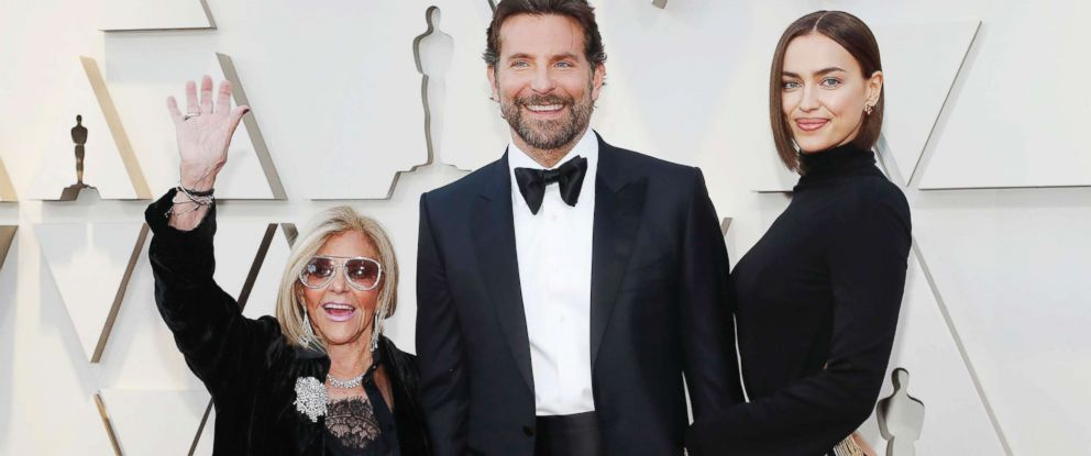 PHOTO: Bradley Cooper arrives with mother Gloria Campano and wife Irina Shayk at the Academy Awards in Hollywood, Calif., Feb. 24, 2019.