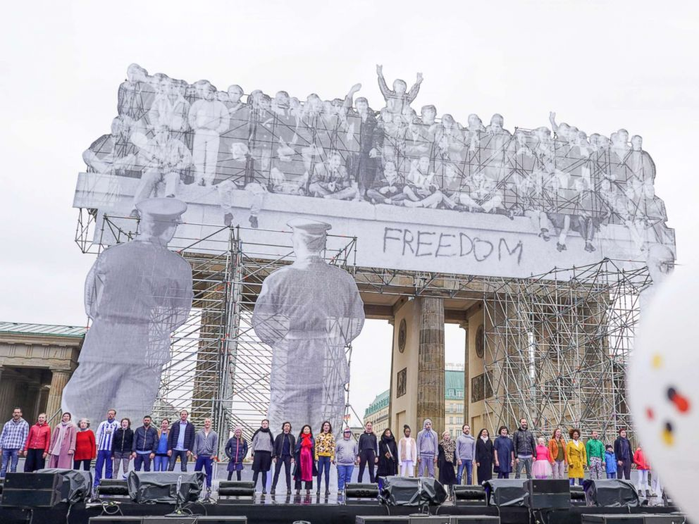 PHOTO: Numerous actors rehearse the play Basic Law on the main stage at the Brandenburg Gate during the celebrations of the Day of German Unity, Oct. 2, 2018, in Berlin.