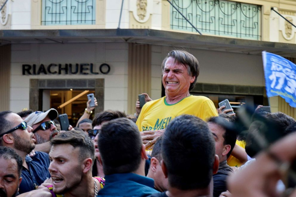 PHOTO: Presidential candidate Jair Bolsonaro grimaces right after being stabbed in the stomach during a campaign rally in Juiz de Fora, Brazil, Sept. 6, 2018.