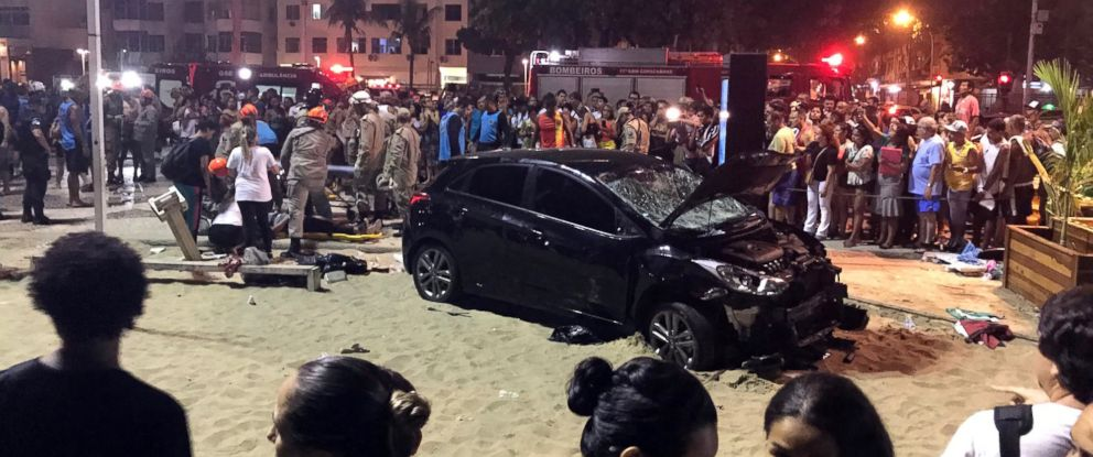 PHOTO: A vehicle ran into a group of tourists at Copacabana beach in Rio de Janeiro, Brazil on Jan. 18, 2018. According to local media, the driver was detained.
