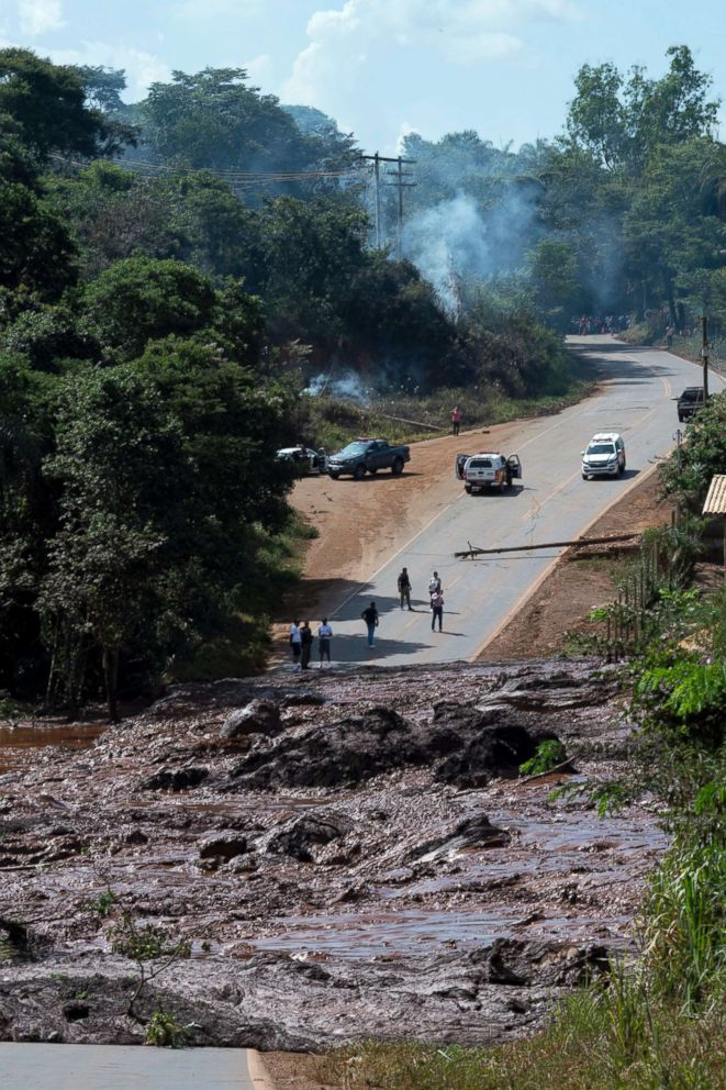 A road is blocked after a dam collapsed near Brumadinho, Brazil, Jan. 25, 2019.