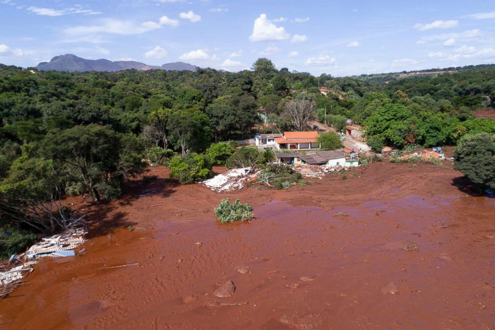 An aerial view shows flooding triggered by a collapsed dam near Brumadinho, Brazil, Jan. 25, 2019.