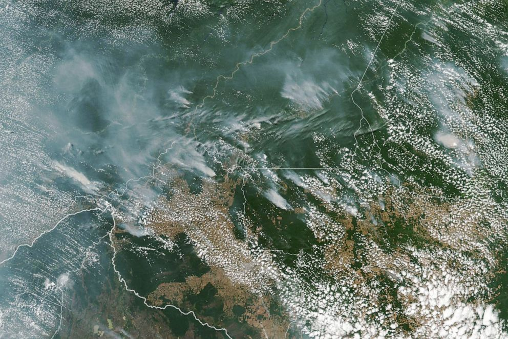 PHOTO: A handout photo made available by NASA of a satellite image showing several fires burning in the Brazilian states of Amazonas, Para, Mato Grosso and Rondonia, August 13, 2019.