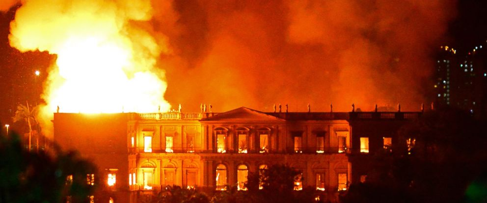 PHOTO: A massive fire engulfs the National Museum in Rio de Janeiro, one of Brazils oldest, Sept. 2, 2018. The cause of the fire was not yet known, according to local media.