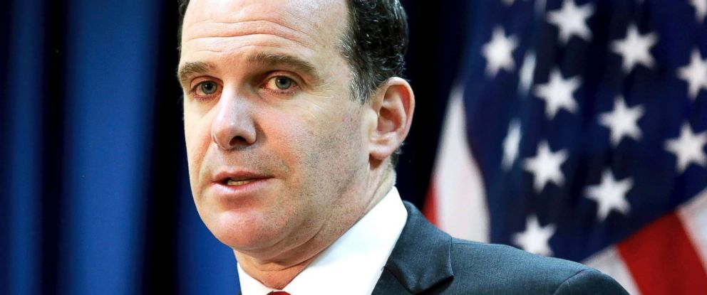 PHOTO: Brett McGurk, the U.S. envoy for the global coalition against ISIS, speaks during a news conference at the U.S. Embassy Baghdad, Iraq, June 7, 2017.