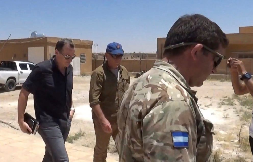 PHOTO: This frame grab from video released Wednesday June 28, 2017, by ANHA news agency, that is consistent with AP reporting, shows Brett McGurk, left, the top U.S. envoy for the international coalition combating IS, leaving after a visit to Syria.