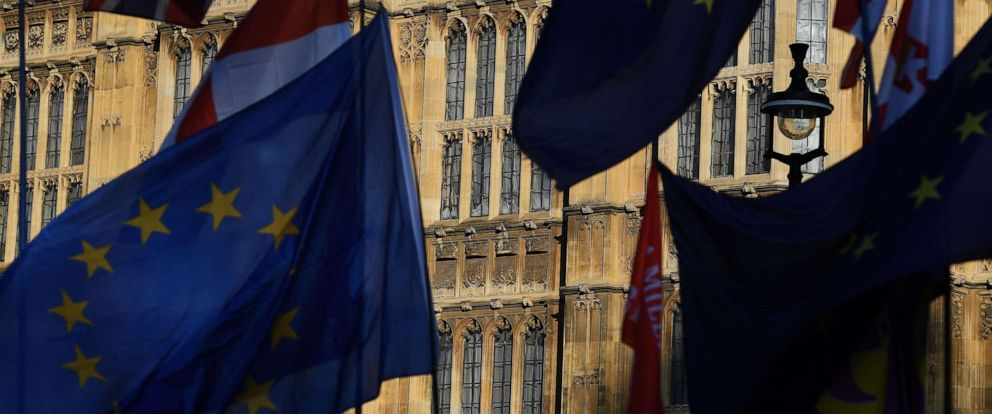 PHOTO: British and EU flags fly outside Parliament in London, Oct. 22, 2019.