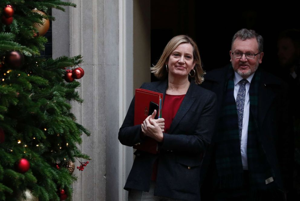 PHOTO: Amber Rudd the Secretary of State for Work and Pensions with David Mundell Secretary of State for Scotland leave following a cabinet meeting at 10 Downing Street, in London, Dec. 18, 2018.