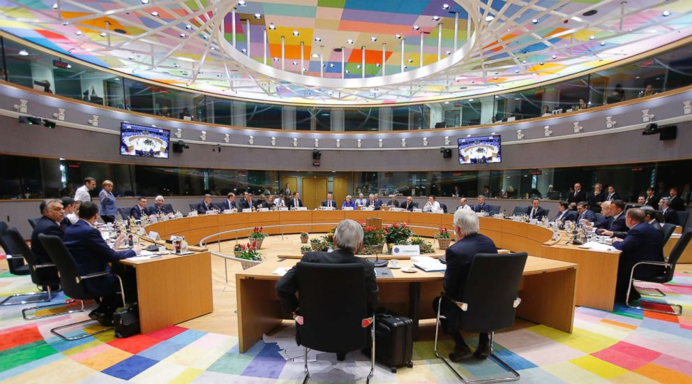 PHOTO: EU heads of state attend a round table meeting at an EU summit in Brussels, Nov. 25, 2018. European Union leaders are gathering to seal an agreement on Britains departure from the bloc next year.
