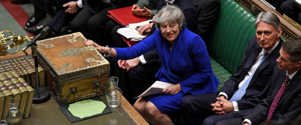PHOTO: British Prime Minister Theresa May reacts during a confidence vote debate after Parliament rejected her Brexit deal, in London, Jan. 16, 2019.