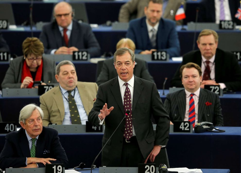 Brexit campaigner and Member of the European Parliament Nigel Farage delivers a speech during a debate on BREXIT after the vote on british Prime Minister Theresa May's Brexit deal, at the European Parliament in Strasbourg, France, Jan. 16, 2019.