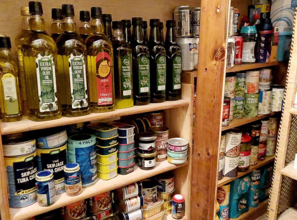 PHOTO: Canned goods and provisions are seen in a stockpile put together by Andrew Rawson, who wrote a book called, Preparing for Brexit: How to Survive the Food Shortages.