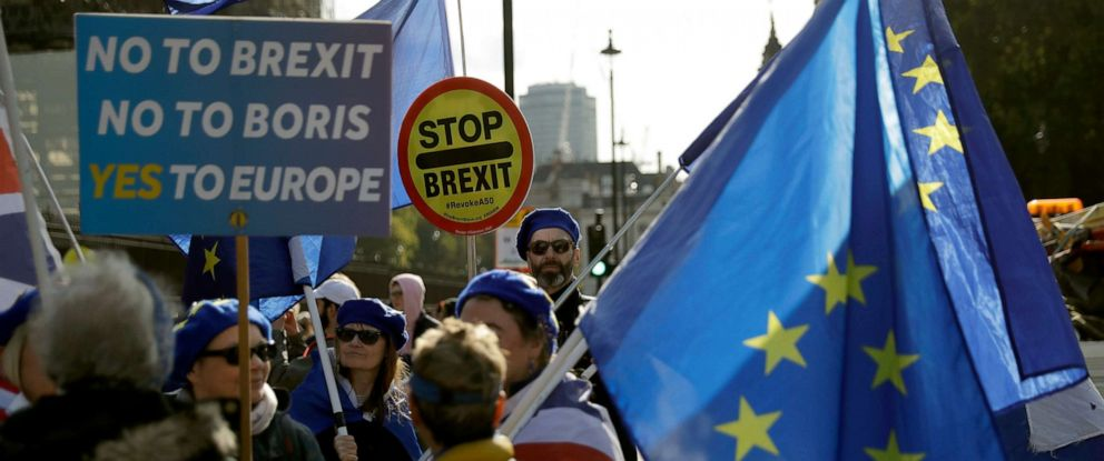 PHOTO: Anti-Brexit remain in the European Union supporters protest with placards and European flags ouside the Houses of Parliament in London, Oct. 22, 2019.
