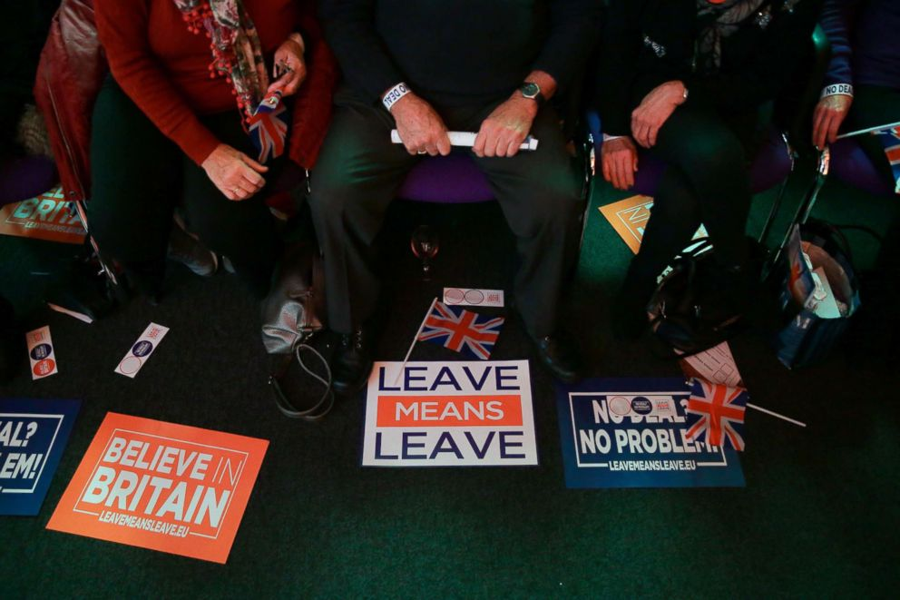 A picture shows Union flags, stickers and banners with slogans as campaign materials at a political rally organised by the pro-Brexit Leave Means Leave group in central London on Dec. 14, 2018.