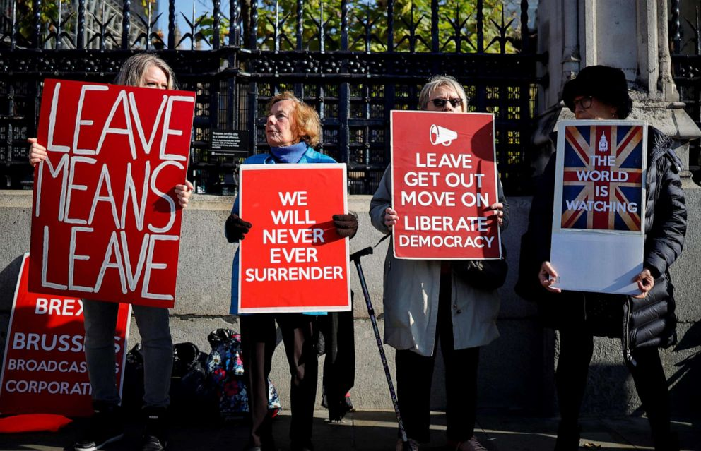 PHOTO: Pro-Brexit activists protest outside the Houses of Parliament in London, Oct. 22, 2019, as MPs begin debating the second reading of the Governments European Union (Withdrawal Agreement) Bill.