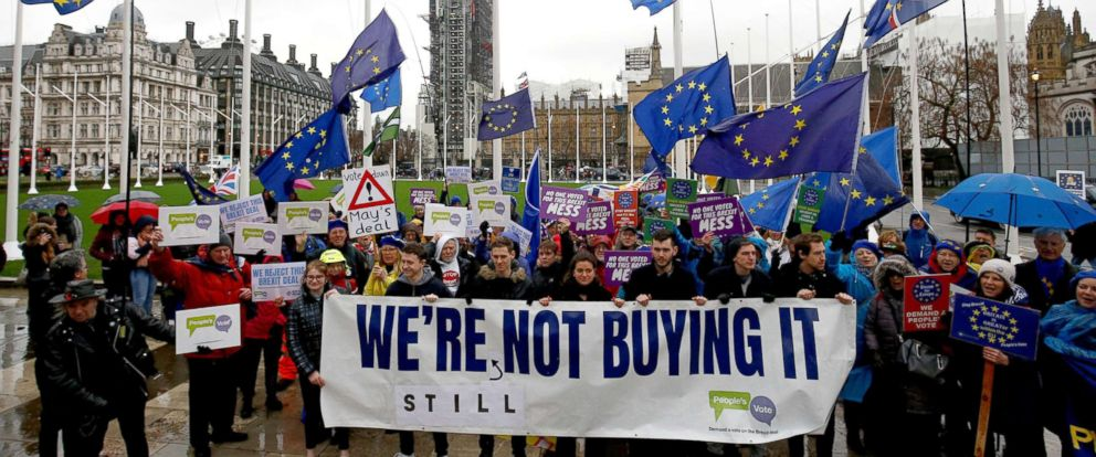 PHOTO: Anti-Brexit protesters demonstrate outside the Houses of Parliament in London, March 12, 2019.