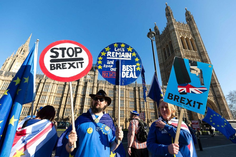 Anti Brexit protesters stage a protest outside the British Houses of Parliament in Westminster, central London, Feb. 25, 2019.