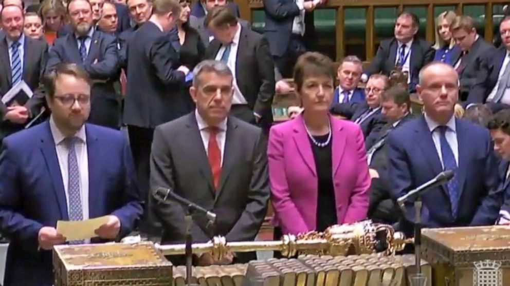 A grab from a handout video shows the four tellers announcing the result of the business motion to the Speaker of the House in the British House of Commons at Westminster, London, March 27, 2019. The British Houses of Parliament are due to hold a number of indicative votes on the direction of Brexit later in the day.
