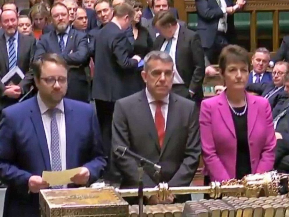 PHOTO: A grab from a handout video shows the four tellers announcing the result of the business motion to the Speaker of the House in the British House of Commons at Westminster, London, March 27, 2019.