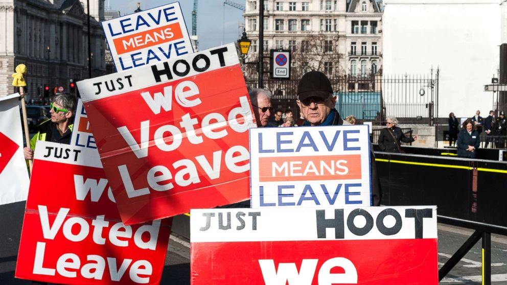 Pro-Brexit supporters protest outside the Houses of Parliament in London as they campaign for a no deal Brexit and swift departure from the EU on the World Trade Organisation (WTO) rules on Feb. 13, 2019.