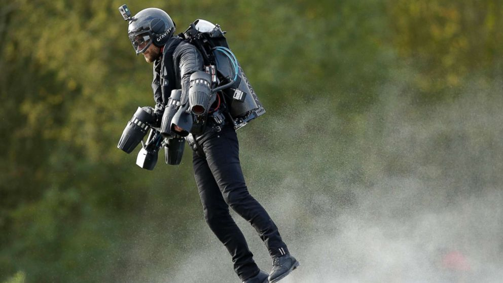 A British inventor, Richard Browning, billed as a real-life version of the superhero Iron Man, sets the Guinness World Record for 'the fastest speed in a body-controlled jet engine power suit,' at Lagoona Park in Reading, England, Nov. 9, 2017.