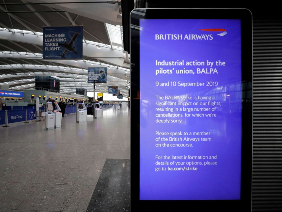 PHOTO:A screen gives information about the British Airways pilots strike in Terminal 5 at Heathrow Airport in London, which handles British Airways flights, Sept. 9, 2019.