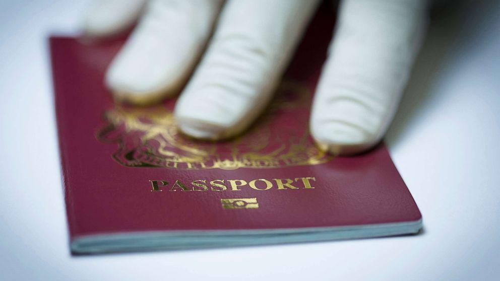 A U.K. passport book.