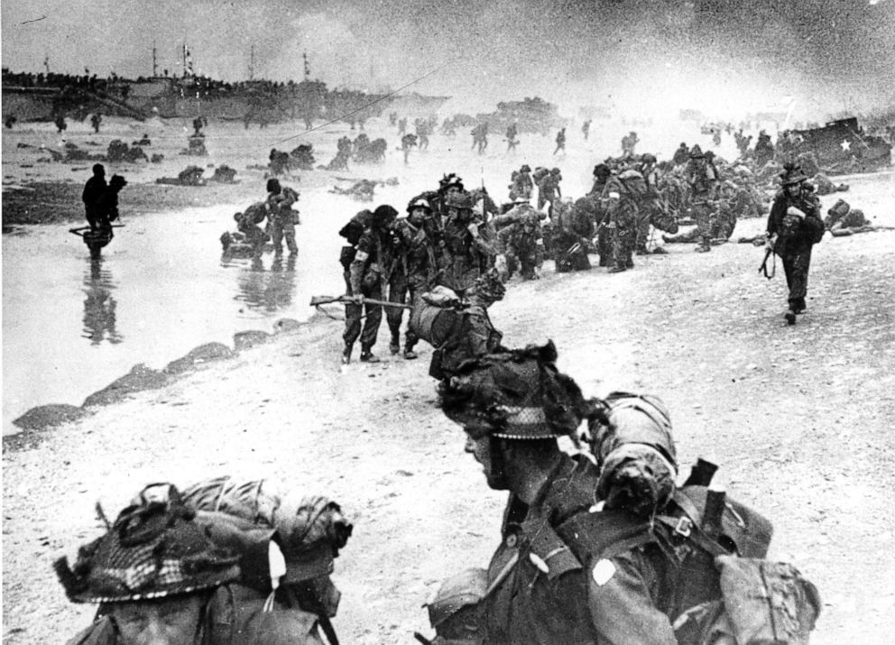 PHOTO: Wounded British troops from the South Lancashire and Middlesex regiments are being helped ashore at Sword Beach, June 6, 1944, during the D-Day invasion of German occupied France during World War II.