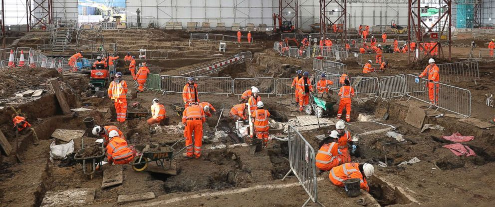 PHOTO: An image taken on Jan. 18, 2019 and issued by HS2 showing a general view of the archaeological excavation and research works at St Jamess Gardens in Euston, London.