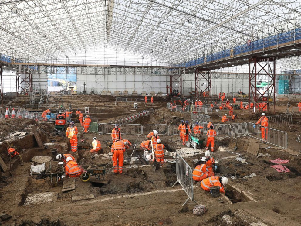 PHOTO: An image taken on January 18, 2019 and issued by HS2 with a general overview of the archaeological excavation and research works at St Jamess Gardens in Euston, London.