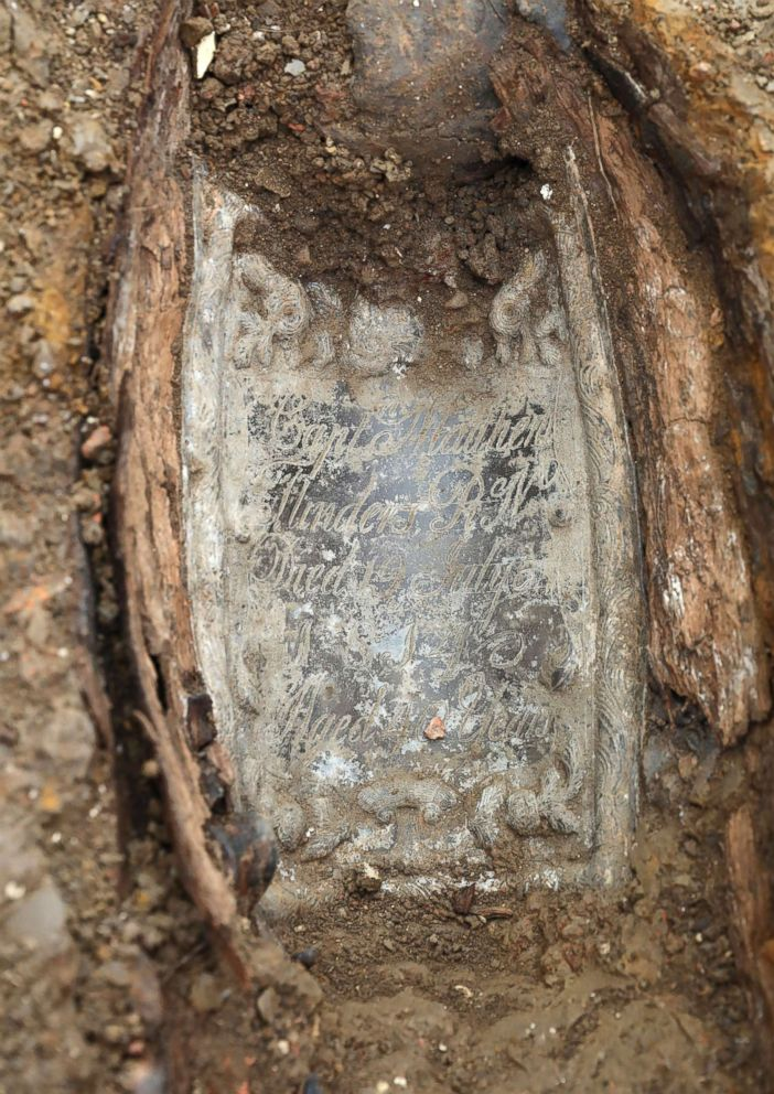 PHOTO: An image taken on Jan. 18, 2019 and issued by HS2 showing the lead plate placed on top of the coffin of Captain Matthew Flinders at the archaeological excavation and research works at St Jamess Gardens in Euston, London.