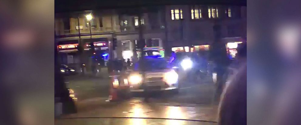 PHOTO: Police vehicles are seen in a video posted to social media after reports of an assault on a police officer outside Buckingham Palace in London, Aug. 25, 2017.
